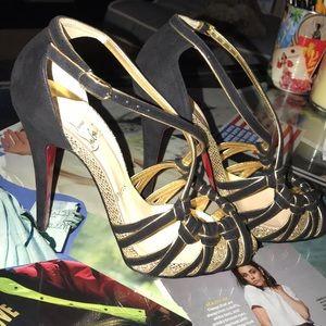Christian Louboutin black/gold suede heels